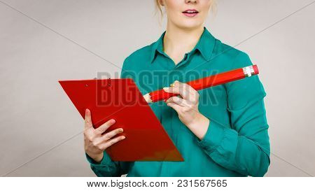 Young Business Woman Wearing Jacket Intensive Thinking Finding Great Problem Solution And Ideas Writ
