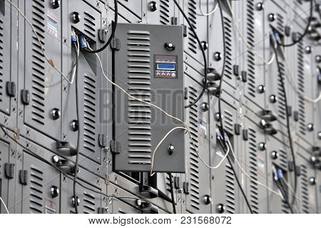 Backside Of Digital Led Panels Of Large Display Screen For Broadcasting Demonstration