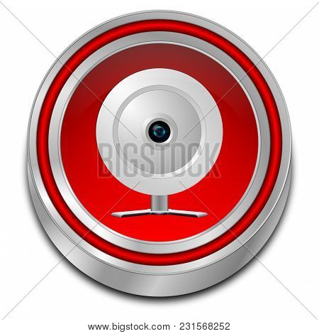 Decorative Red Button With Webcam - 3d Illustration