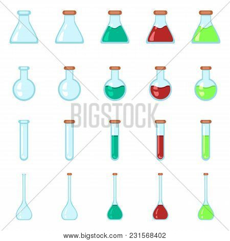 Vector Set Of Chemistry Lab Glassware Flat Icons.