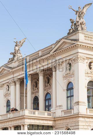 Zurich, Switzerland - 24 April, 2014: Partial View Of The Zurich Opera House Building. Zurich Opera