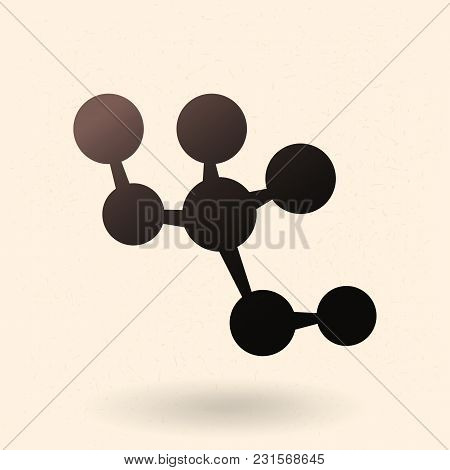 Vector Black Silhouette Molecula Structure Icon