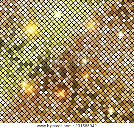 Golden Shiny Mosaic In Disco Ball Style. Vector Gold Disco Lights Background. Abstract Background.