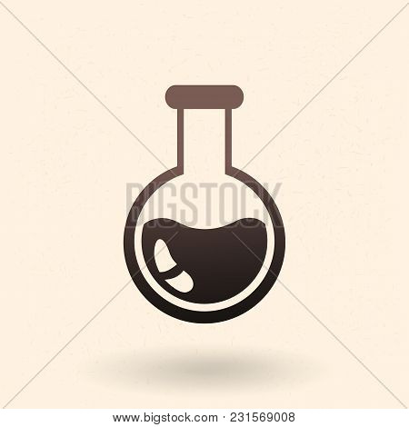 Vector Black Icon - Round-bottom Flask .chemical Lab Glassware.