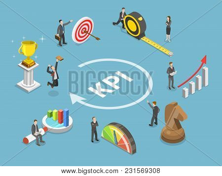 Key Performance Indicator Flat Isometric Vector Concept. Renders Major Kpi Points As Following Objec