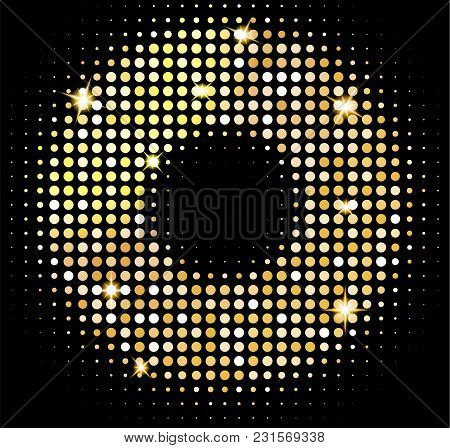 Vector Gold Disco Lights Background. Golden Shiny Mosaic In Disco Ball Style