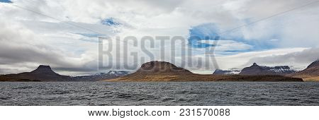 Panoramic Mountain View In Isafjordur In A Cloudy Day, Iceland