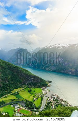 Tourism And Travel. Scenic Nature Landscape. View Of The Picturesque Aurland Valley And Fjords From