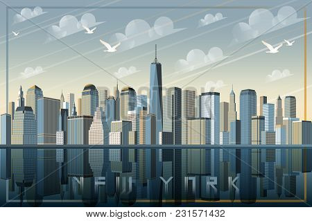 View Of New York. Handmade Drawing Vector Illustration. All Buildings Is Different Objects.