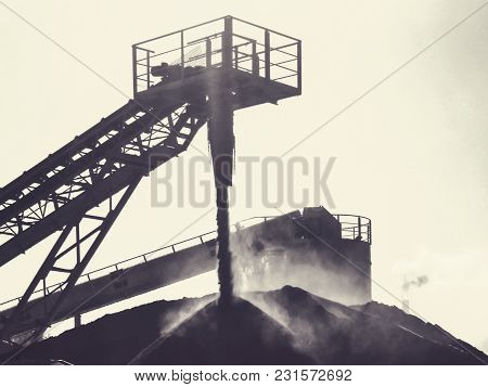 Stone Crusher In Quarry. Monochrome Industrial Background