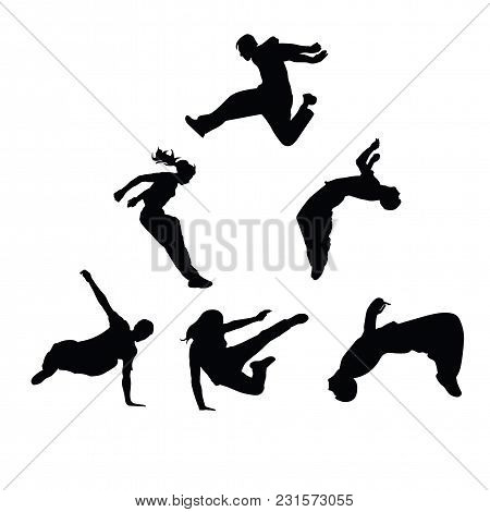 Silhouettes Of People Engaged In Parkour. Sports Guys And Girls. Vector Silhouettes On White Backgro