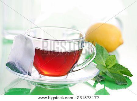 Tea Hot Drink With Tea Bag In Glass