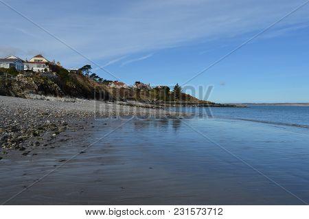Beach On A Calm Day While Walking Coastal Path, Isle Of Man