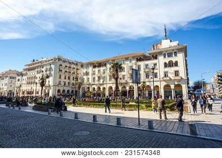 10.03.2018 Thessaloniki, Greece - Beautiful View Of The Old Houses Of Thessaloniki