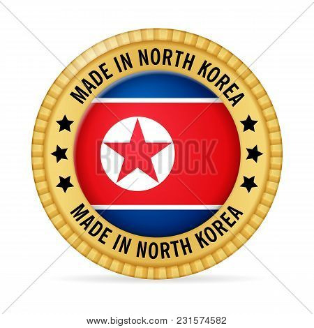 Icon Made In North Korea On A White Background.