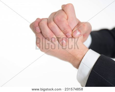 Businessman Shaking Hands. He Wear In Suit. Isolated On Whitr
