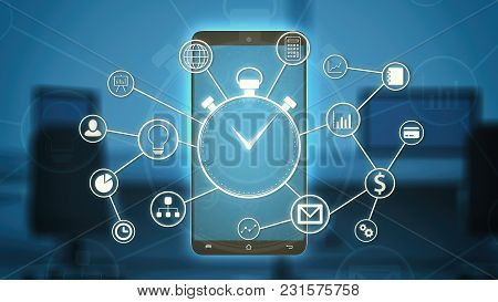 Futuristic Hud With A Stopwatch, Business And Finance Symbols Connected Each Other, A Smartphone, Of