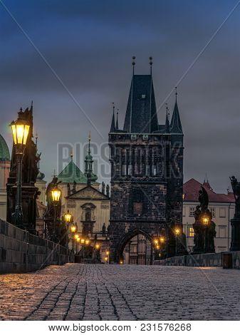 Charles Bridge at nighttime, Prague, Czech Republic