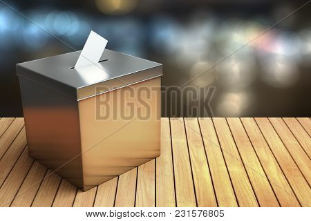 3d Rendering Of Metal Chrome Election Box On The Wooden Table With Night Light Bokeh Background With