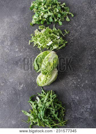 Various Types Of Salad Leaves  On A Grey Background. Little Gem Lettuce, Corn Lettuce, Frieze, Arugu