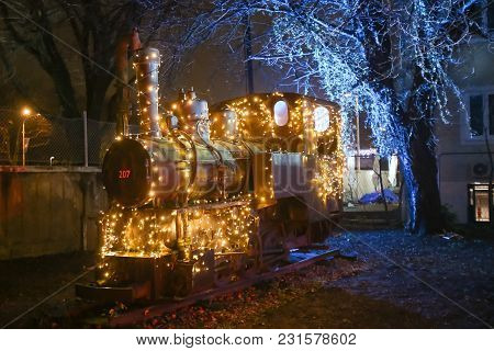 Zagreb, Croatia - December 13th, 2017: Advent Time At The Croatian Railway Museum In Zagreb. Ilumina
