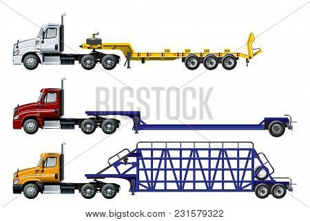 Vector Semi Trucks Set Isolated On White. Available Eps-10 Separated By Groups And Layers With Trans