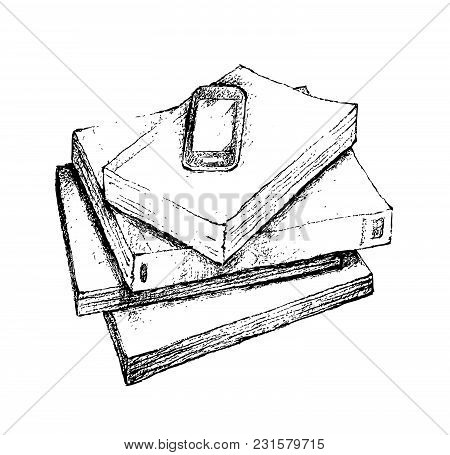 Illustration Of Hand Drawn Sketch Of Cellular Phone Or Mobile Smart Phone On Pile Of Spiral Notebook
