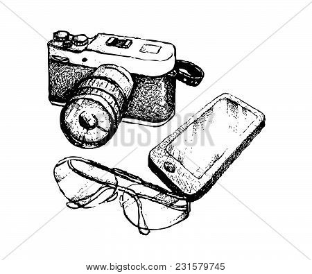 Illustration Of Hand Drawn Sketch Digital Camera And Glasses With Cellular Phone Or Mobile Smart Pho