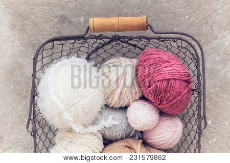 Metal Basket On  Concrete Background, Coil Wool, Yarn