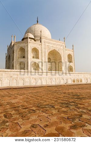 The Western Side Of The Landmark Taj Mahal At Sunset In The Town Of Agra In India