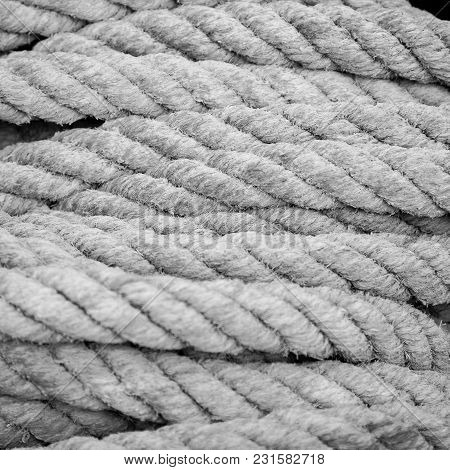 A Bundle Of Rough Rope Used On Ships