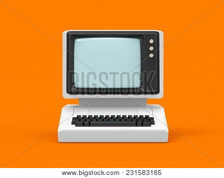 Old-fashioned Personal Computer, Front View. 3d Illustration