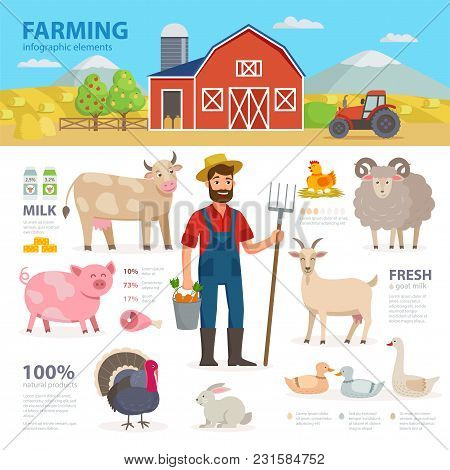 Farming Infographic Elements. Farmer, Farm Animals, Equipment, Barn, Tractor, Landscape Large Set Of