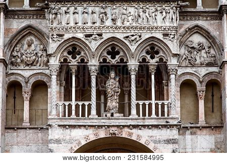 The Cathedral Facade In Ferrara, Built In Romanesque Style