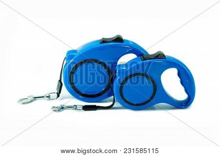 Automatic Leash Of Blue For Dog On Isolated White.