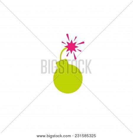 Green Flat Bomb Icon. Round Inclined To The Right Bomb With Fuse And Pink Magenta Fire. Isolated On