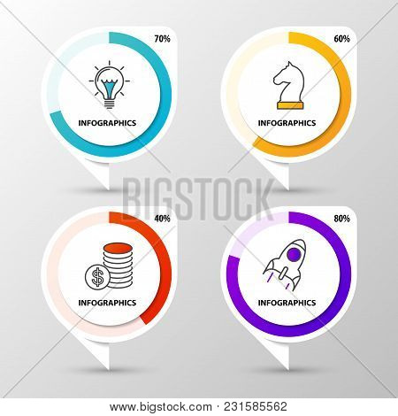 Infographic Design Template. Business Concept With Percentage Diagrams. Vector Illustration