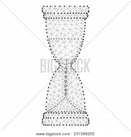 Hourglass Sand Clock Icon From Triangles, Point Connecting Network On White Background. Polygonal Lo