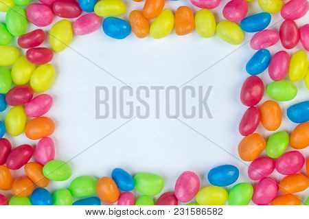Jelly Bean Frame With White Box Space For Text