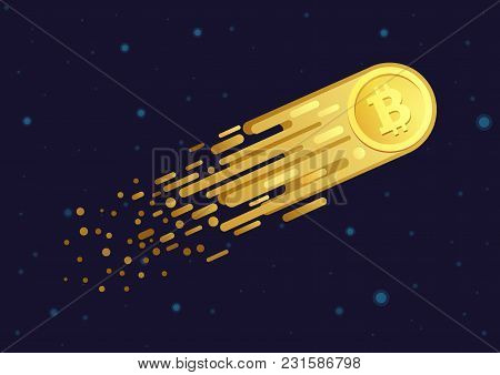 Vector Cartoon Illustration Of Comet With Golden Bitcoin Symbol Flying In Open Space