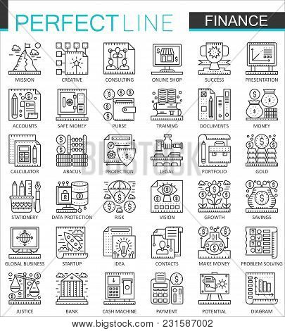 Finance Banking Outline Mini Concept Symbols. Money Online Banking Modern Stroke Linear Style Illust
