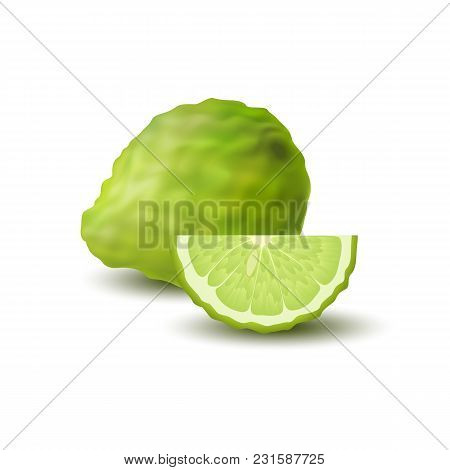 Isolated Colored Green Whole And Slice Of Juicy Bergamot, Kaffir Lime With Shadow On White Backgroun