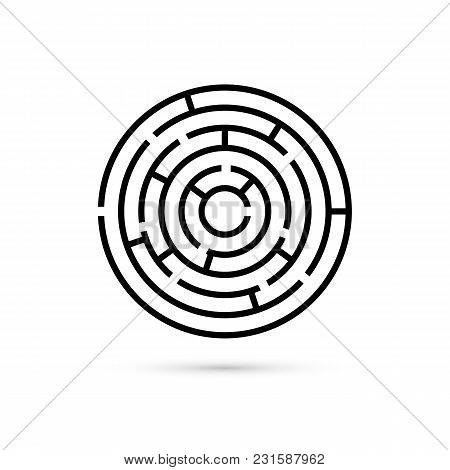 Circular Maze With Way To Center. Business Confusion And Solution Concept. Flat Design. Vector Illus