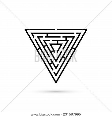 Triangle Maze With Way To Center. Logic Game. Business Confusion And Solution Concept. Flat Design.