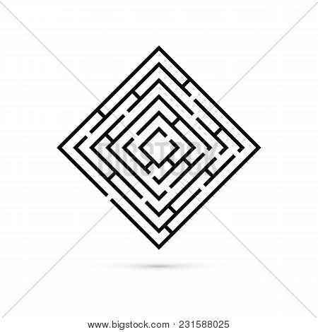 Rectangle Maze With Way To Center. Logic Game. Business Confusion And Solution Concept. Flat Design.