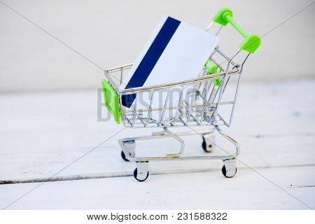 Shopping Cart With Credit Card, Internet Shopping
