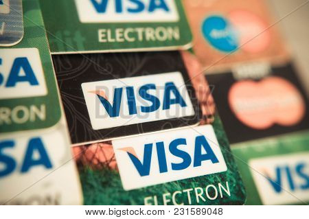 Sevastopol, Russia - On  February 23,2016: Heap Of Credit Cards, Visas And Mastercard,.pile Of Visa