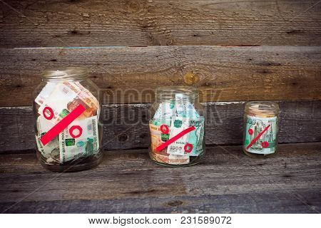 Rubles In A Glass Jar, Percent From Bank Deposits.