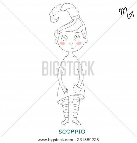 Funny Horoscope For Girls. Cute Girl In The Form Of Zodiac Sign. Outline Drawing In Cartoon Style.sc