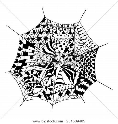 Hand Drawn Spider Web For Anti Stress. Coloring Page With High Details, Isolated On White Background